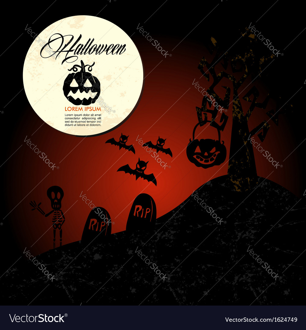 Halloween text full moon pumpkin spooky cemetery vector | Price: 1 Credit (USD $1)