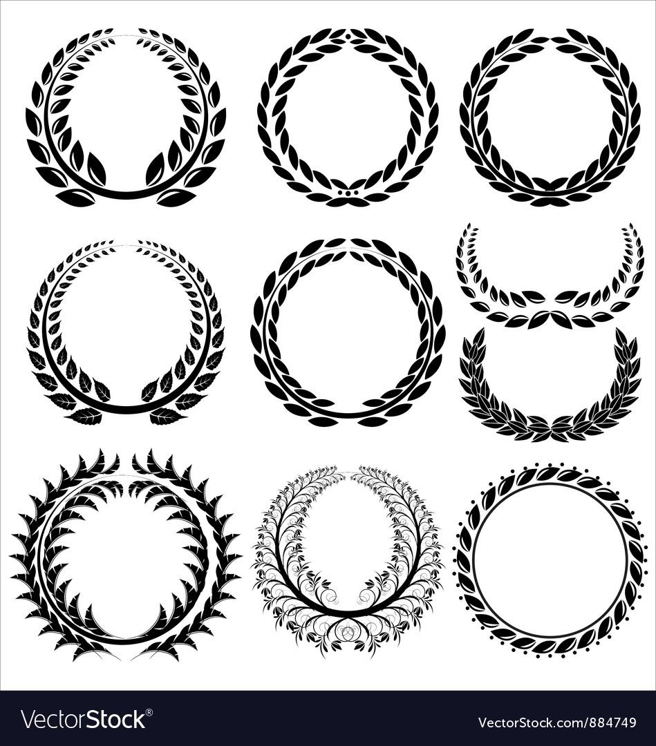 Laurel wreath set vector | Price: 1 Credit (USD $1)
