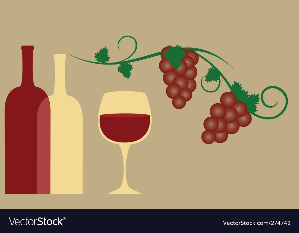 Red wine and grape vector | Price: 1 Credit (USD $1)