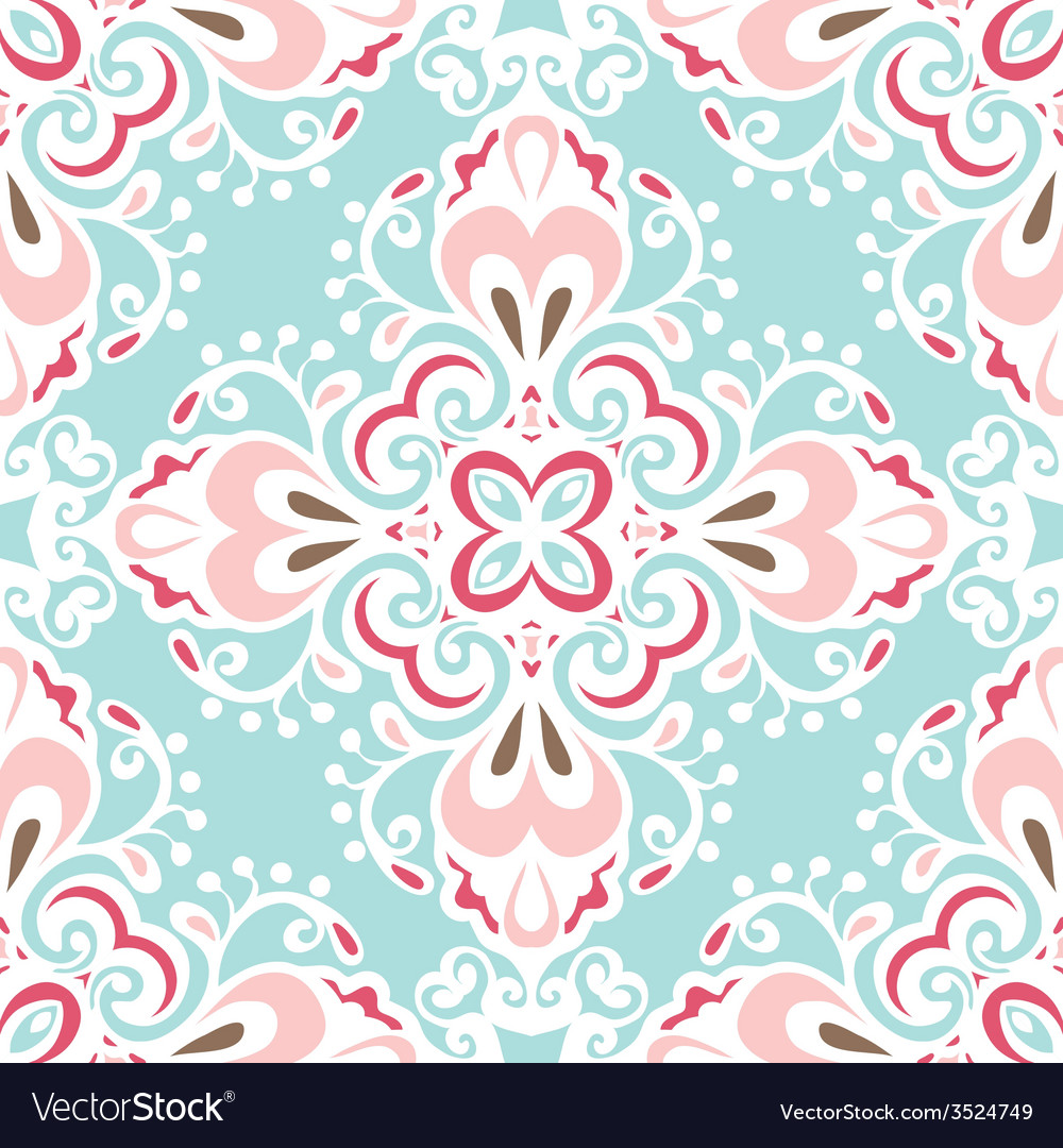 Seamless abstract floral tiled pattern vector | Price: 1 Credit (USD $1)