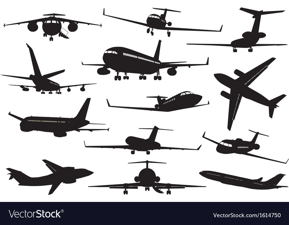 Aircraft silhouettes set vector | Price: 1 Credit (USD $1)
