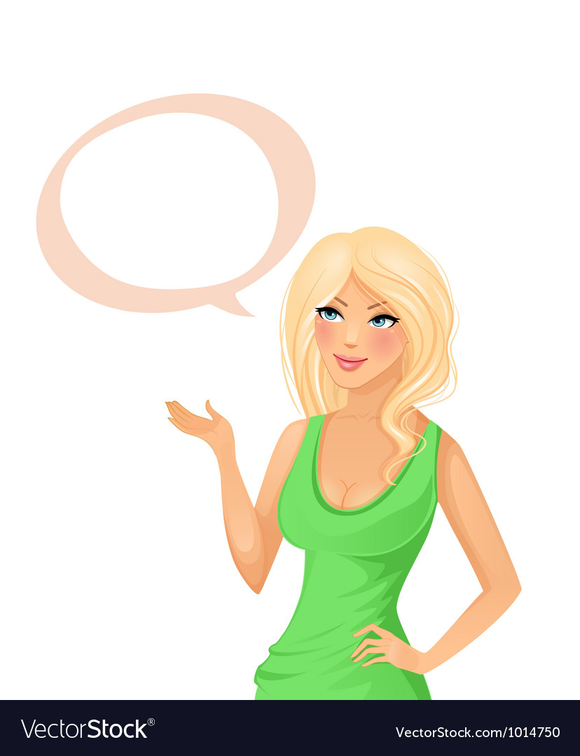 Cute girl with speech bubble vector | Price: 5 Credit (USD $5)