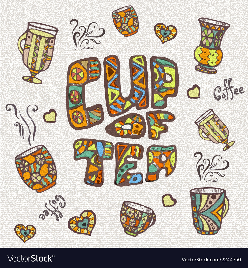 Decorative sketch of cup of coffee or tea vector | Price: 1 Credit (USD $1)