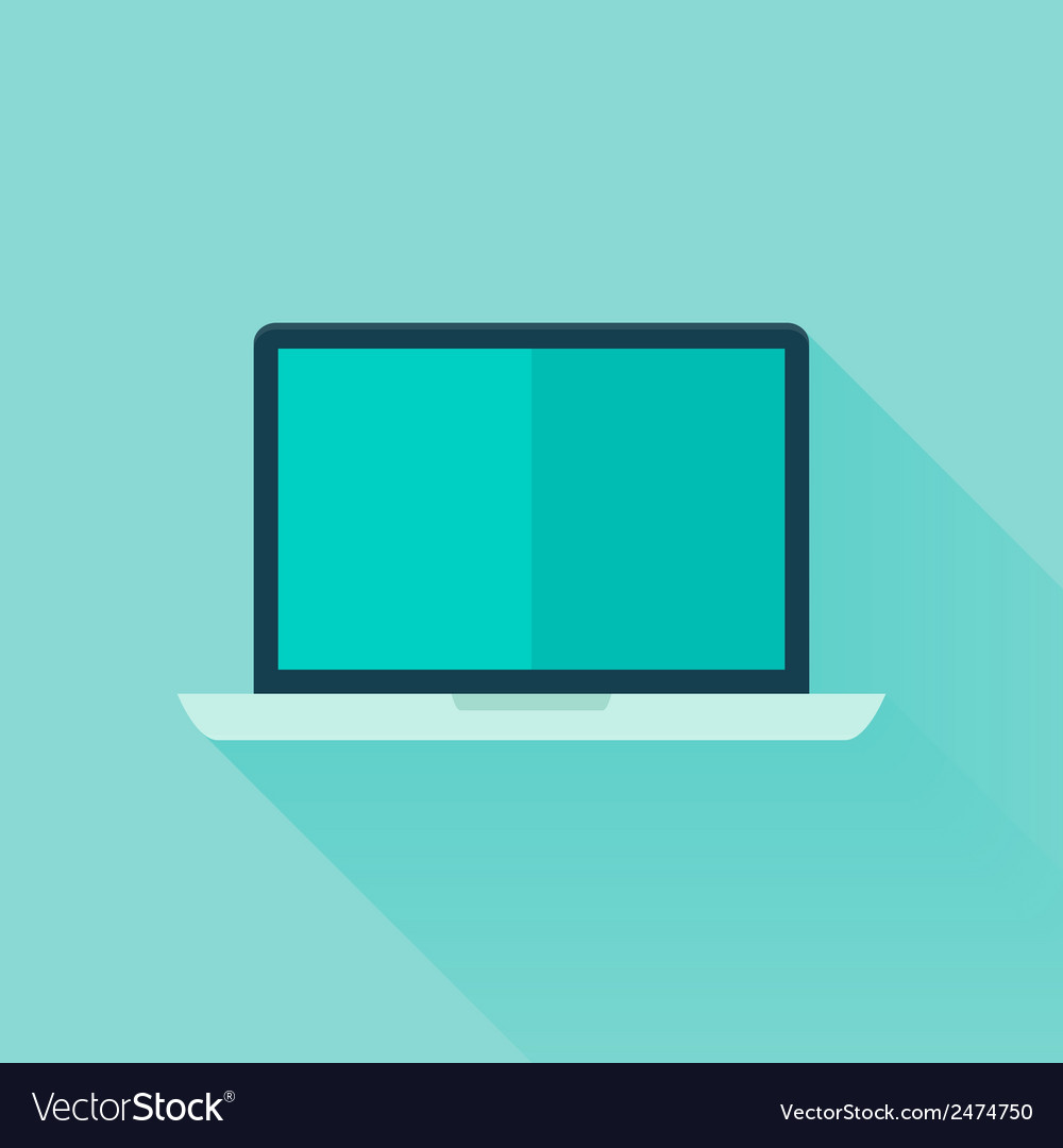 Flat laptop over blue vector | Price: 1 Credit (USD $1)