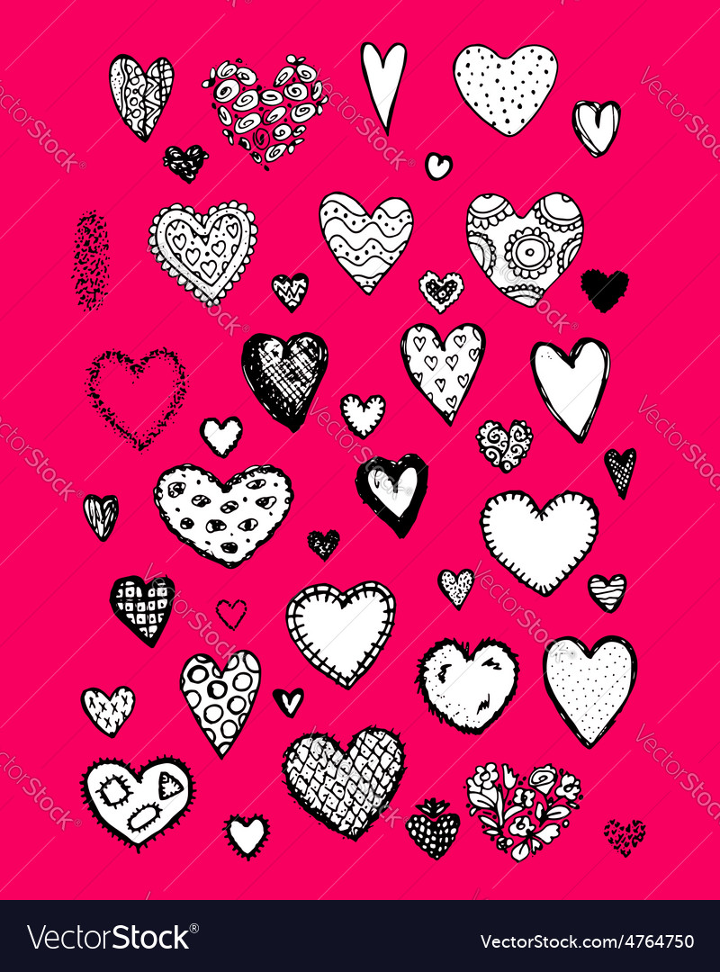 Set of valentine hearts for your design vector   Price: 1 Credit (USD $1)