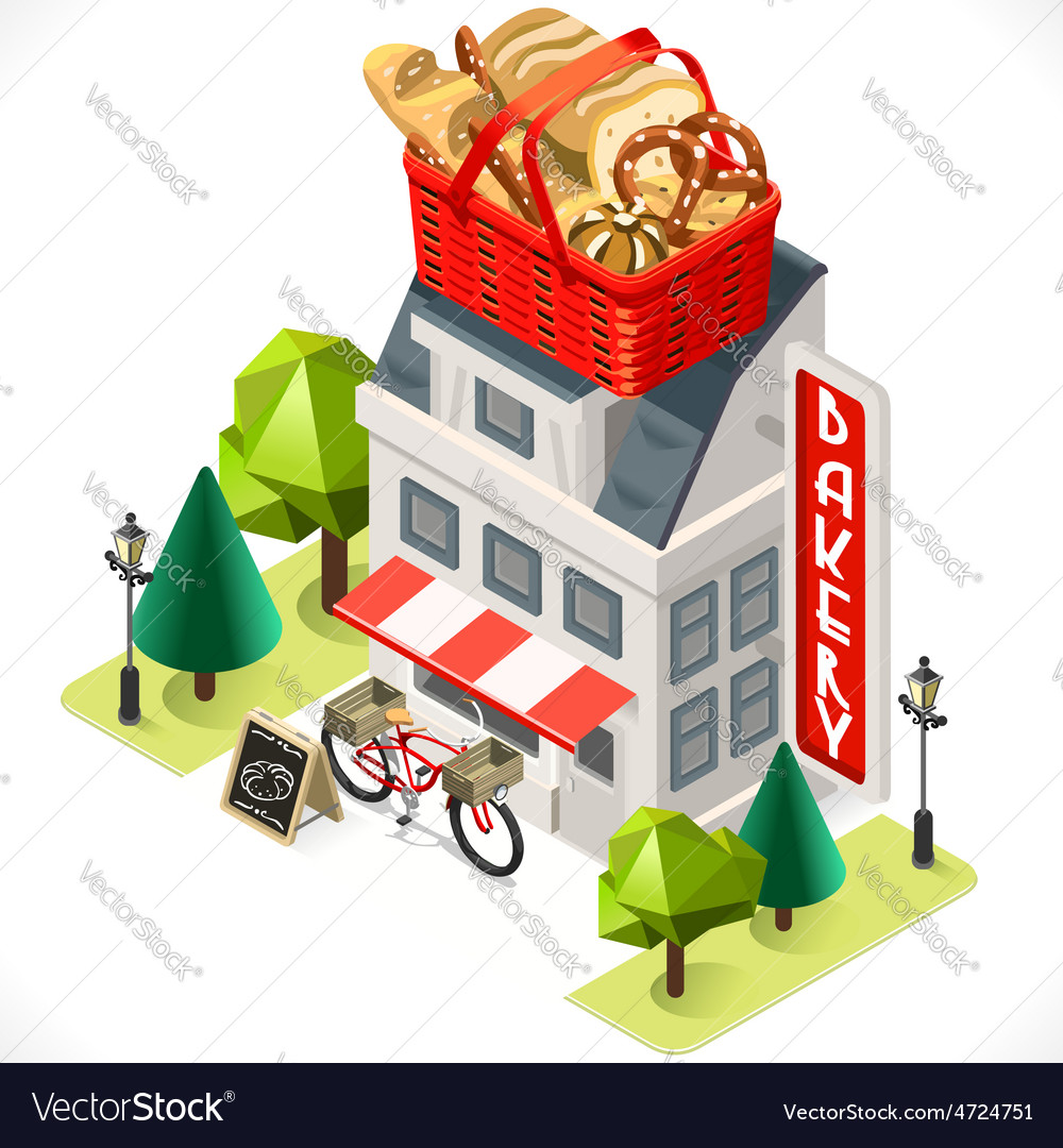 Bakery building tint icon isometric1 vector