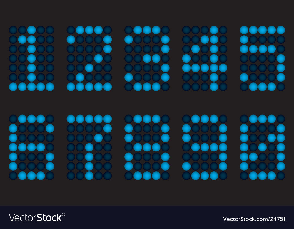 Blue digits for matrix display vector | Price: 1 Credit (USD $1)