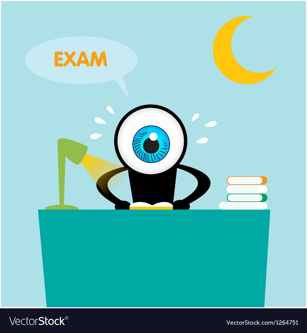 The blue eye reading book for exam vector | Price: 1 Credit (USD $1)