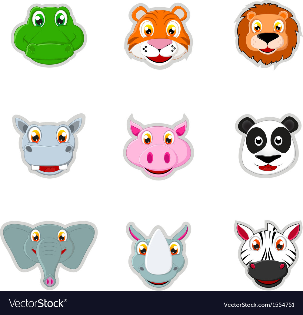 Cute animal head icon vector | Price: 1 Credit (USD $1)
