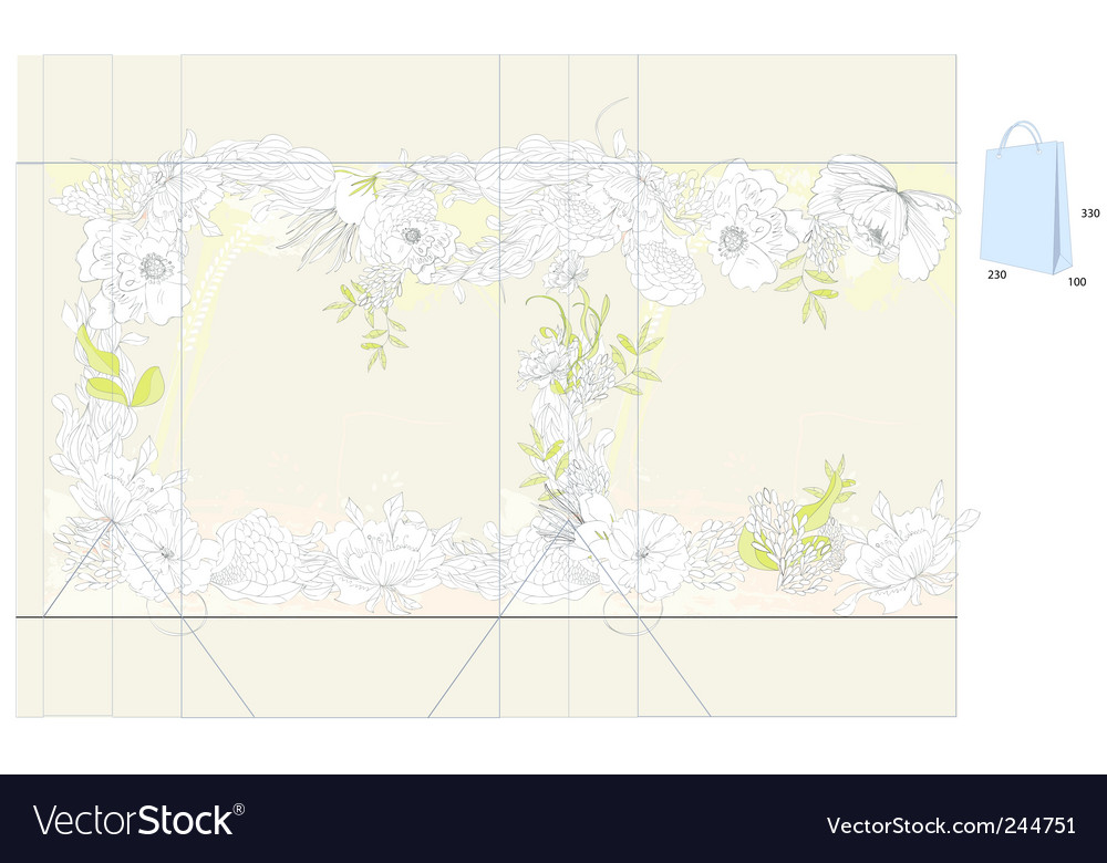 Decorative bag with flowers vector | Price: 1 Credit (USD $1)