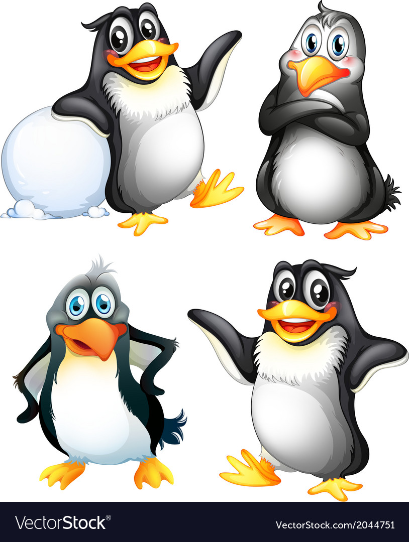 Four playful penguins vector | Price: 1 Credit (USD $1)