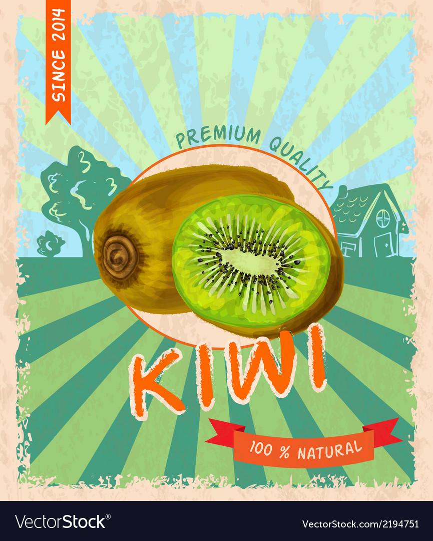 Kiwi retro poster vector | Price: 1 Credit (USD $1)