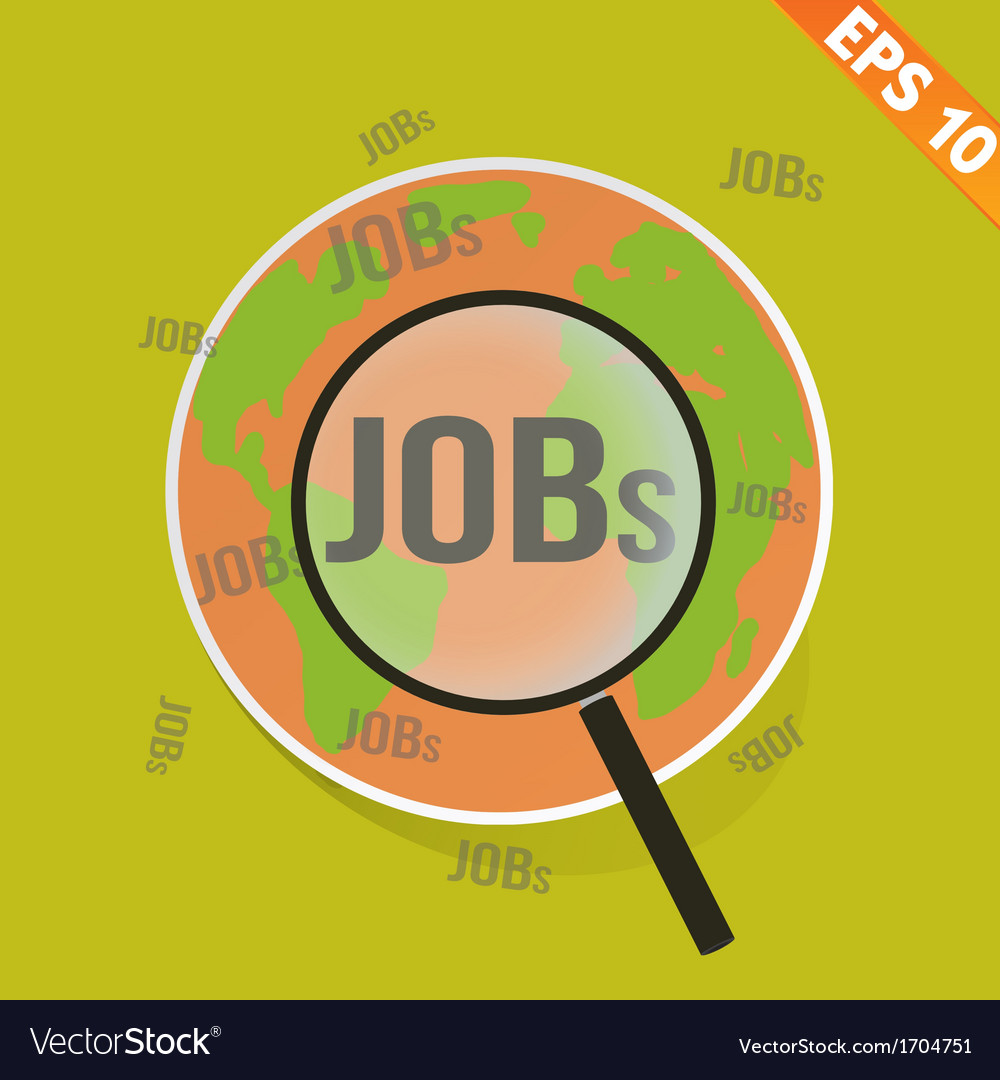 Magnifier enlarges job on world map - - eps1 vector | Price: 1 Credit (USD $1)