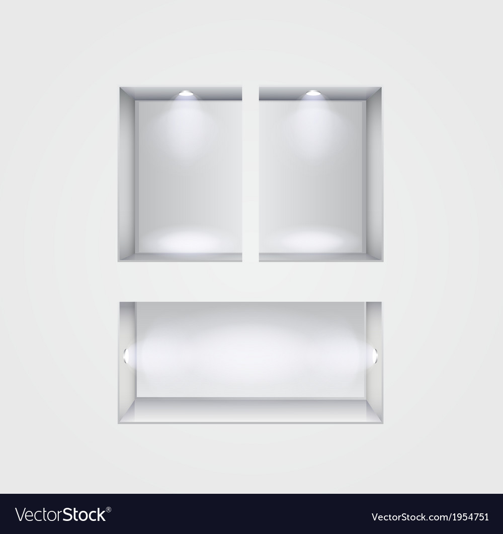 Niche gallery interior on gray vector | Price: 1 Credit (USD $1)