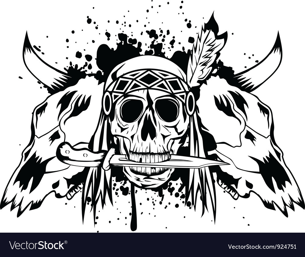 Skulls bull and skull indian vector | Price: 1 Credit (USD $1)