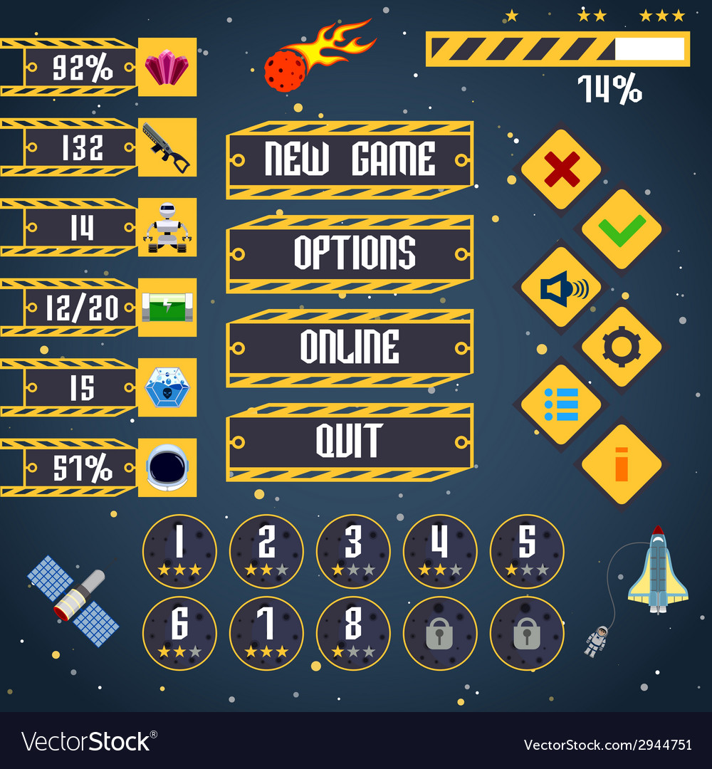 Space game interface vector | Price: 1 Credit (USD $1)