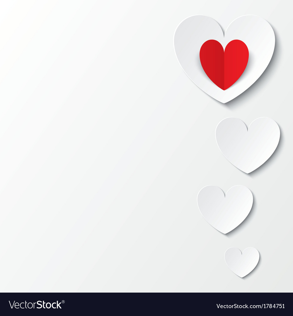 White paper hearts valentines day card on white vector   Price: 1 Credit (USD $1)