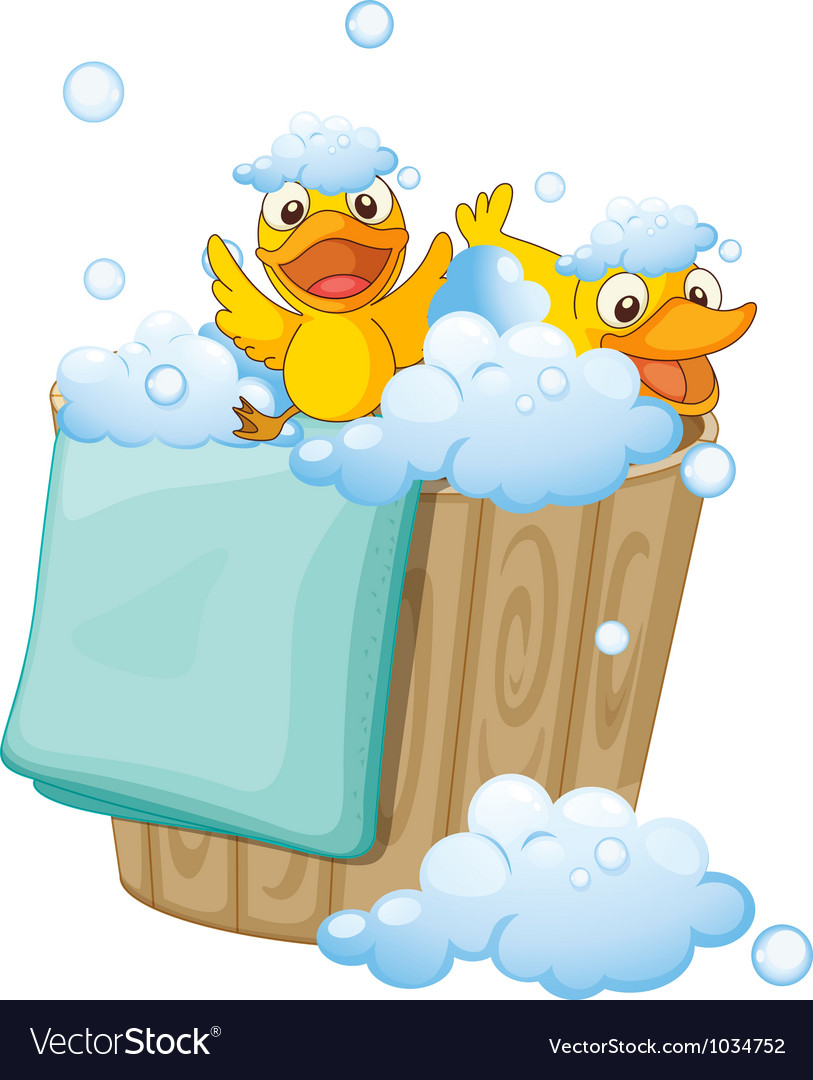 Duckling in a foam bucket vector | Price: 1 Credit (USD $1)