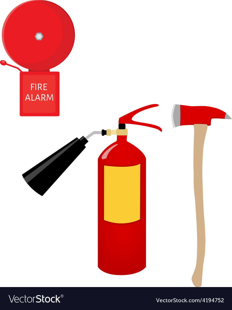 Fire extinguisher alarm bell and axe vector | Price: 1 Credit (USD $1)