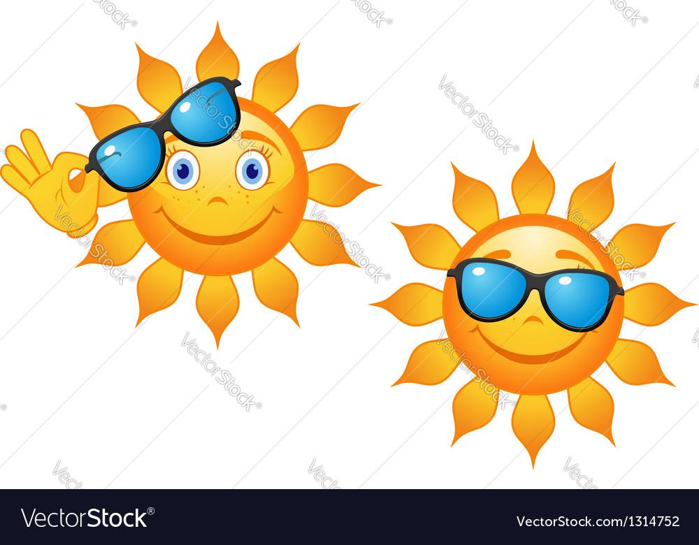 Funny sun in sunglasses vector | Price: 1 Credit (USD $1)