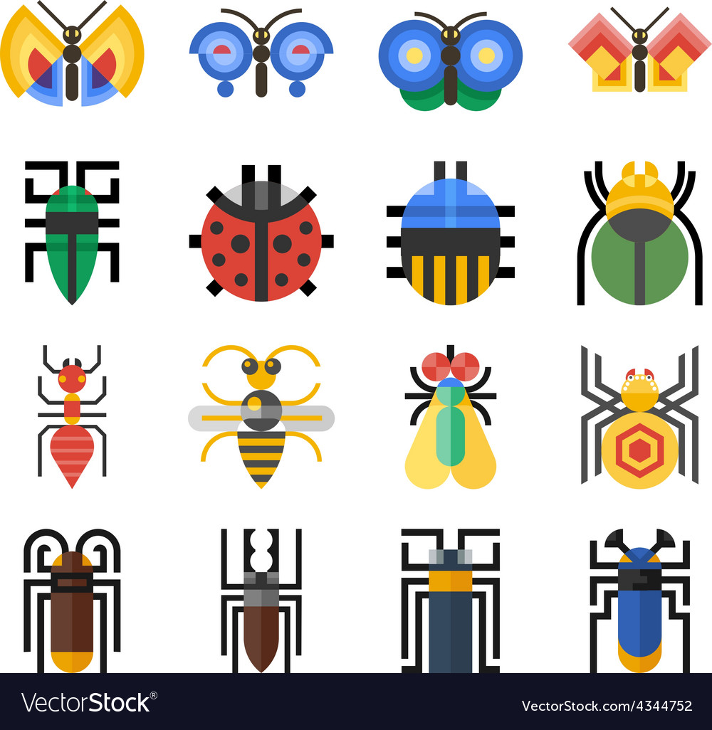 Insects geometric icons set vector | Price: 1 Credit (USD $1)