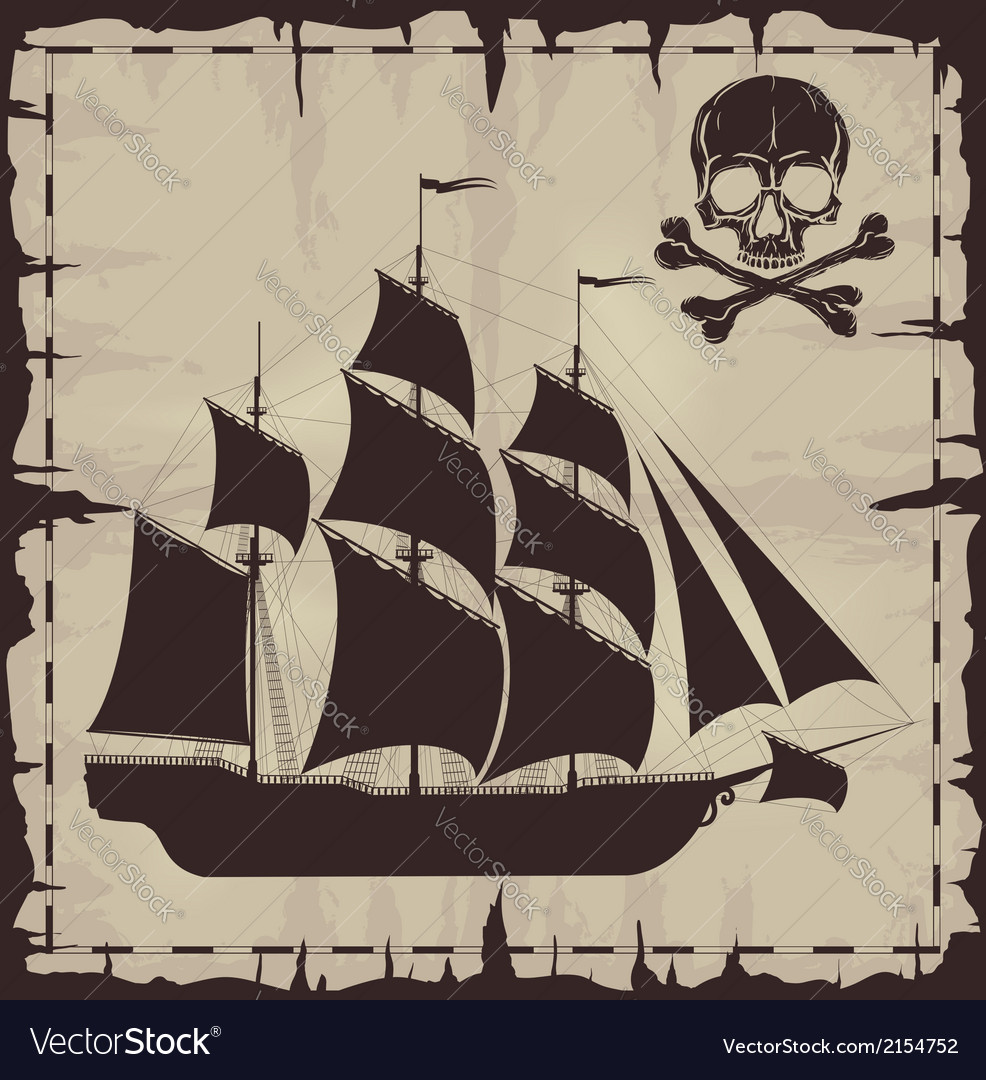 Large ship and skull over old paper vector | Price: 1 Credit (USD $1)