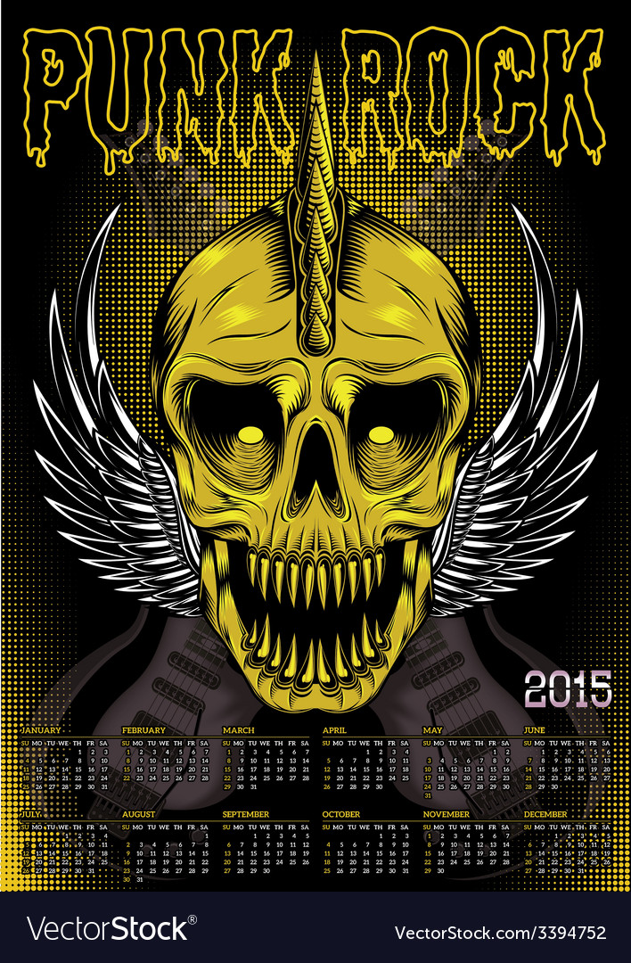 Poster skull and calendar for punk rock vector | Price: 1 Credit (USD $1)