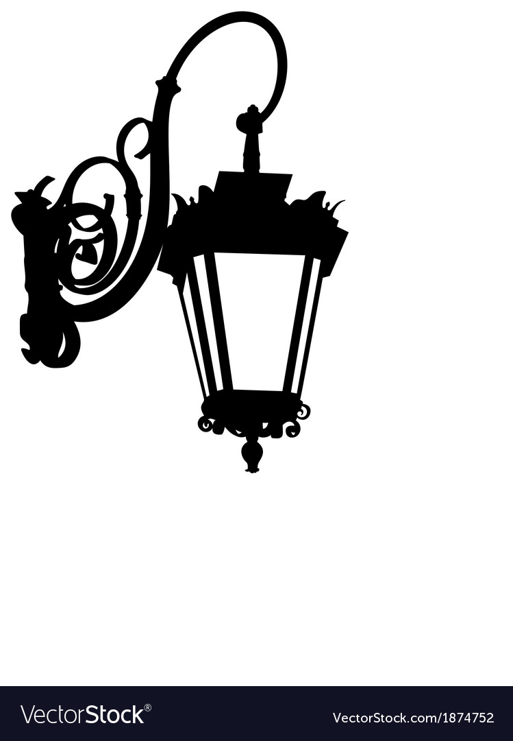 Street lamp silhouette vector | Price: 1 Credit (USD $1)