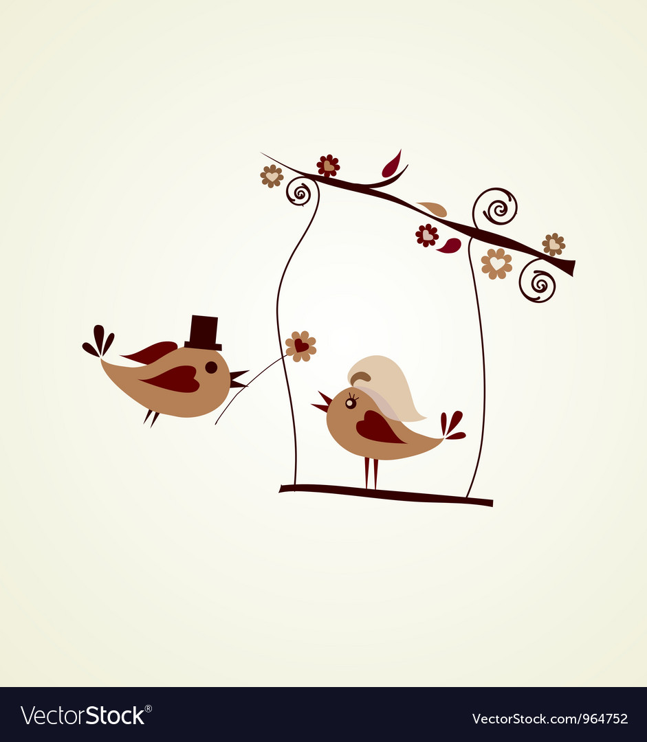 Wedding card groom bird giving a flower vector | Price: 1 Credit (USD $1)