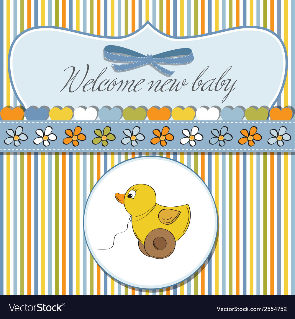 Welcome card with duck toy vector | Price: 1 Credit (USD $1)