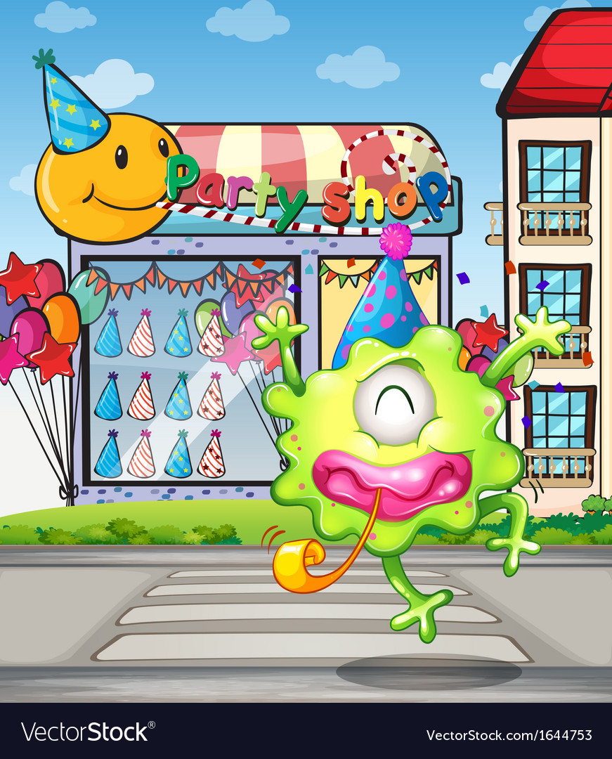 A happy monster from the party shop vector | Price: 3 Credit (USD $3)