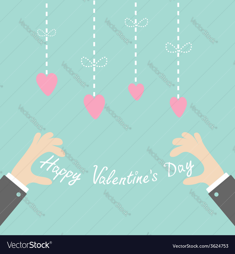 Businessman hands holding happy valentines day vector | Price: 1 Credit (USD $1)