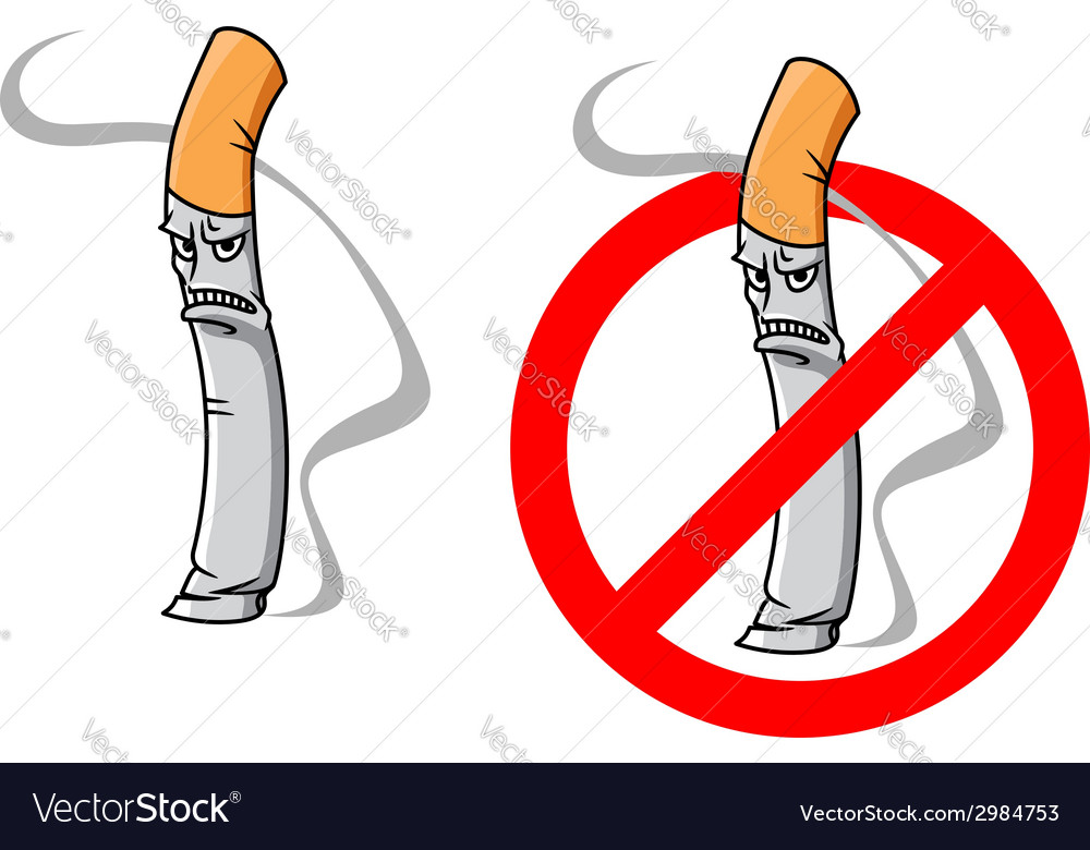 Cartoon unhappy cigarette character vector | Price: 1 Credit (USD $1)