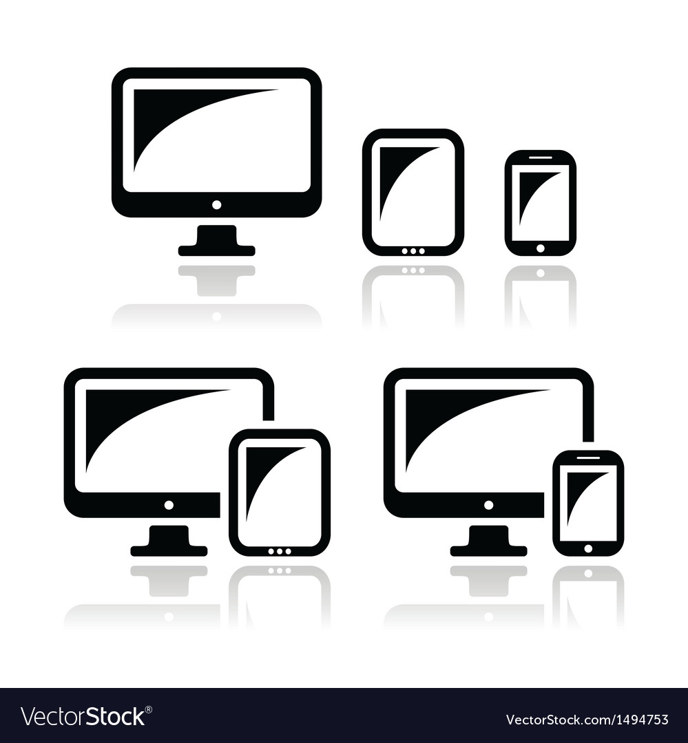 Computer tablet smartphone icons set vector | Price: 1 Credit (USD $1)