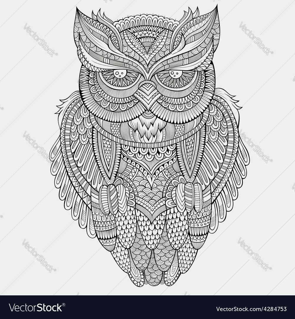 Decorative ornamental owl vector | Price: 3 Credit (USD $3)