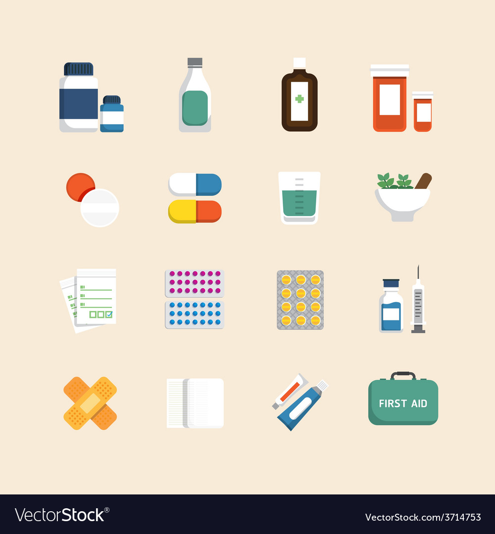 Flat icons set of medical health care design vector | Price: 1 Credit (USD $1)