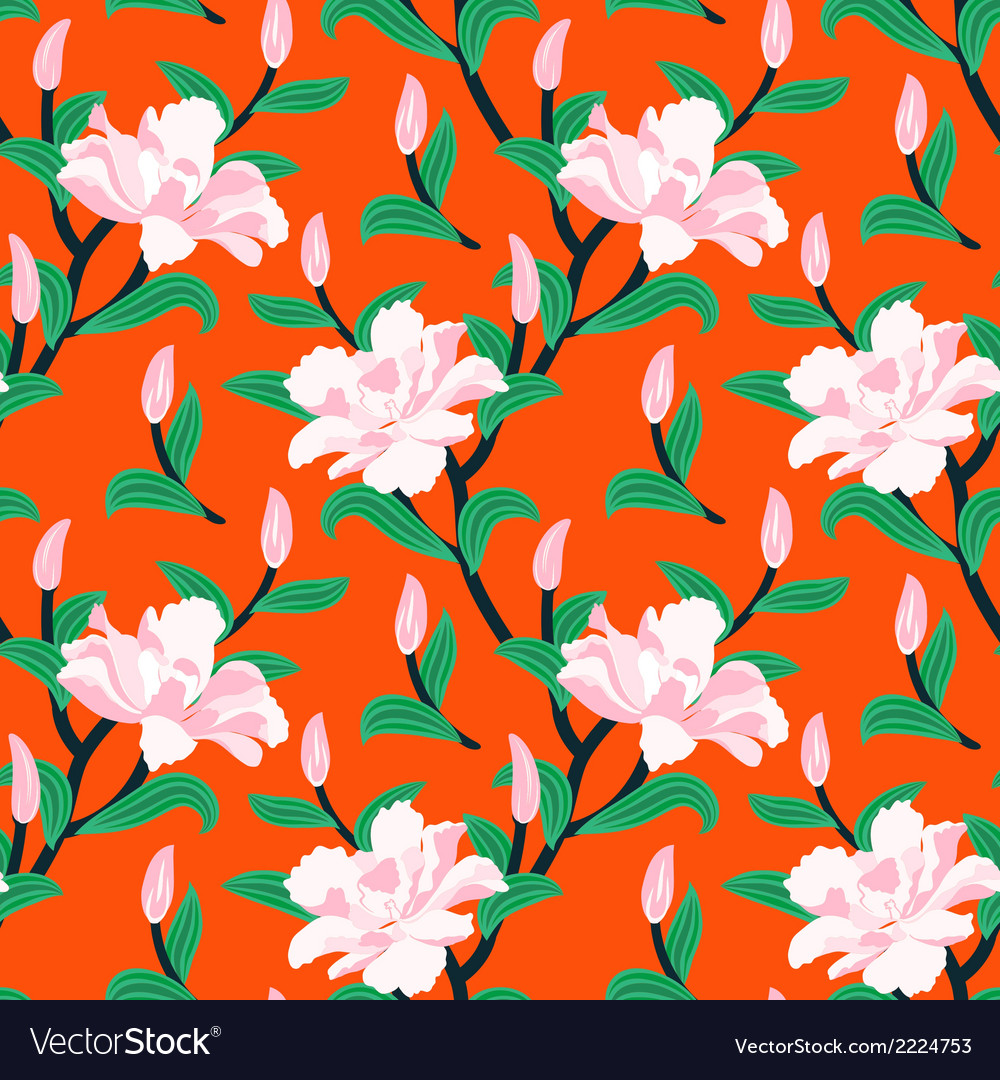 Floral seamless pattern with peony flowers vector | Price: 1 Credit (USD $1)