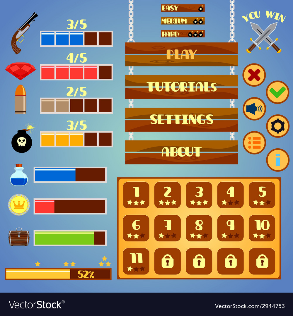 Game interface design vector | Price: 1 Credit (USD $1)