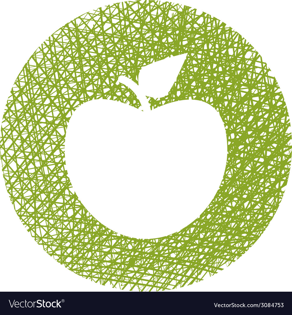 Green apple icon with hand drawn lines texture vector | Price: 1 Credit (USD $1)