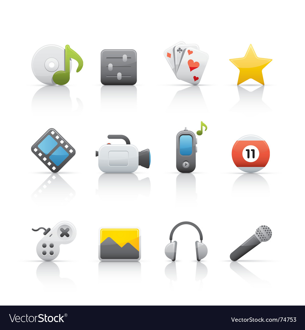 Icon set entertainment vector | Price: 1 Credit (USD $1)