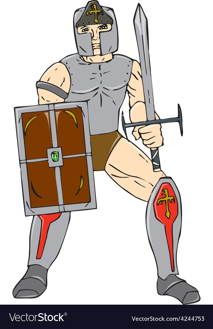 Knight wielding sword and shield cartoon vector | Price: 1 Credit (USD $1)