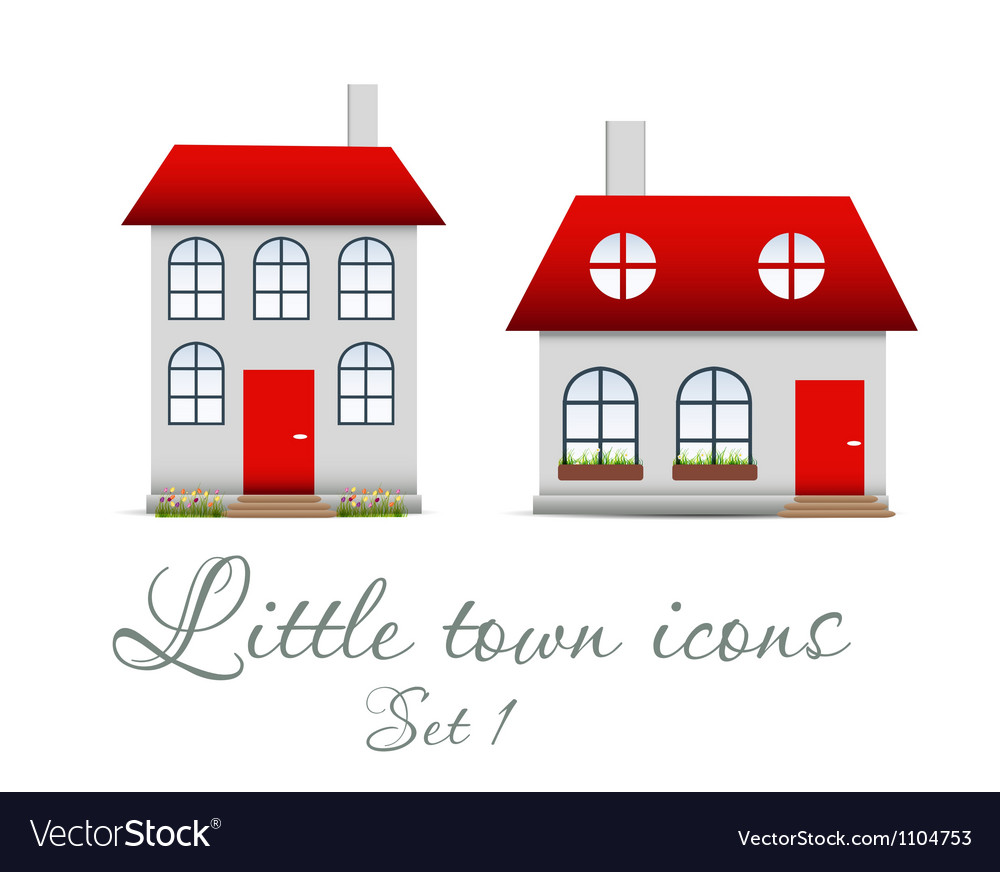 Little town icons set vector | Price: 1 Credit (USD $1)