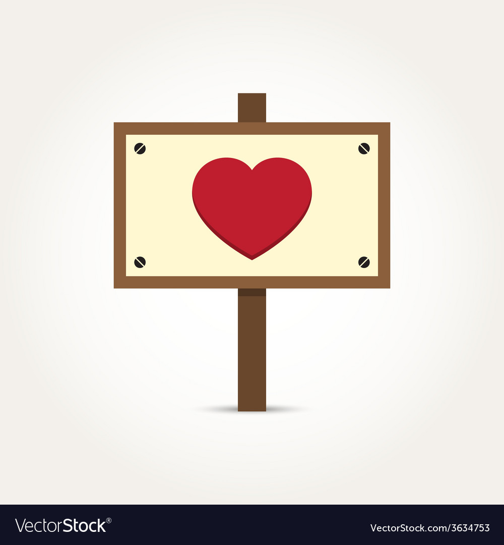 Love heart wooden sign board vector | Price: 1 Credit (USD $1)