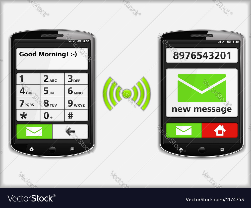 Mobile phones with sms vector | Price: 1 Credit (USD $1)