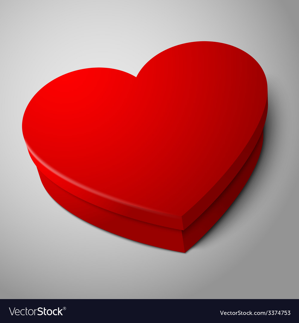 Realistic blank bright red heart shape box vector   Price: 3 Credit (USD $3)
