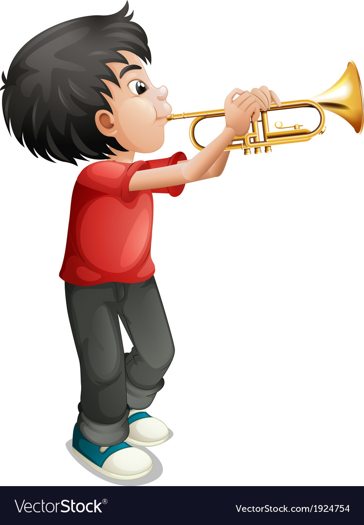 A boy playing with his trombone vector | Price: 3 Credit (USD $3)