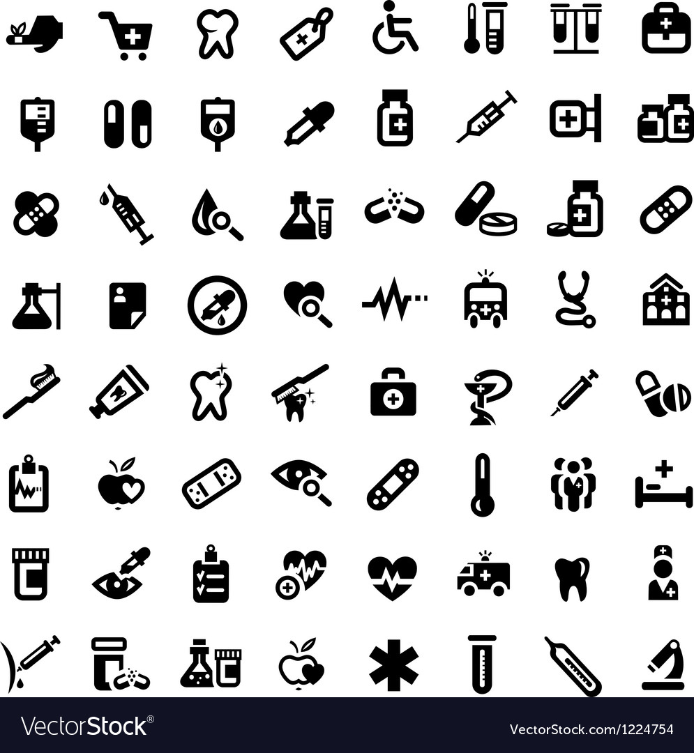 Big medical icons set vector | Price: 1 Credit (USD $1)