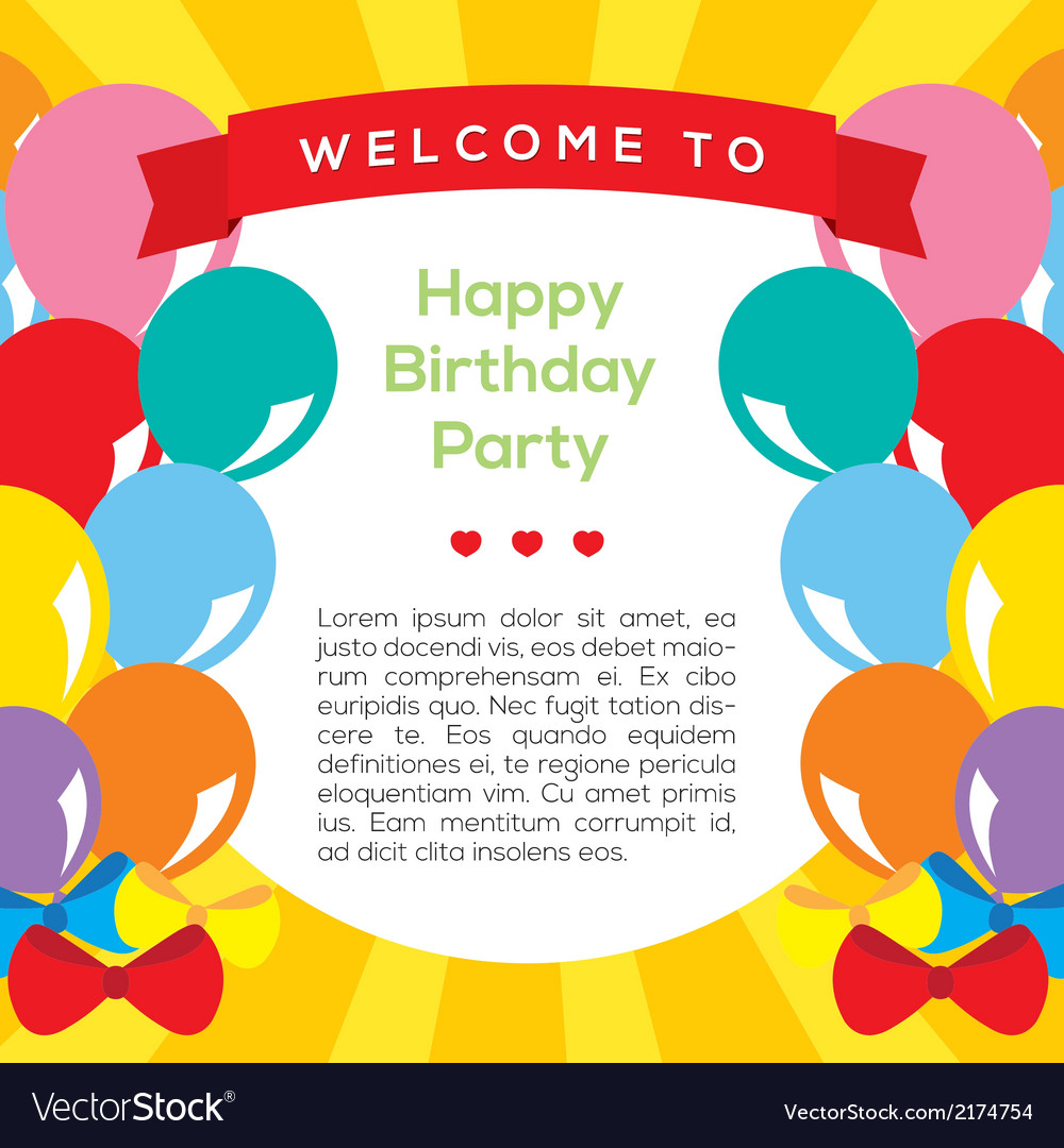 Colorful balloons frame template vector | Price: 1 Credit (USD $1)