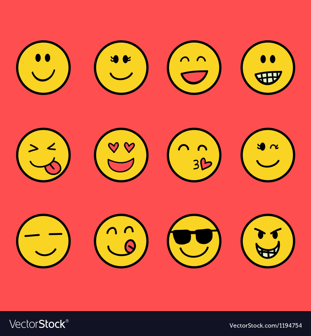 Fun emoticon set vector | Price: 1 Credit (USD $1)