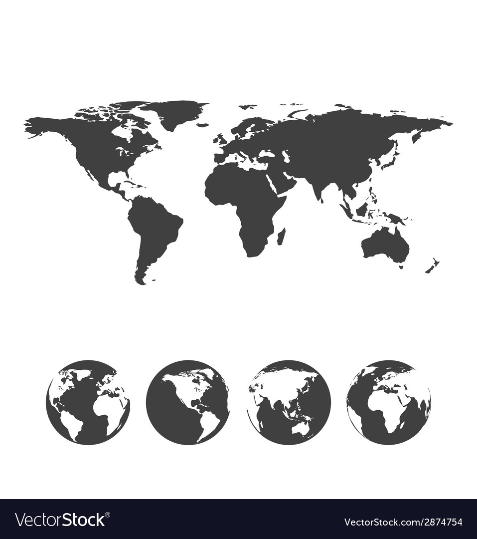 Gray map of the world with globe icons vector | Price: 1 Credit (USD $1)